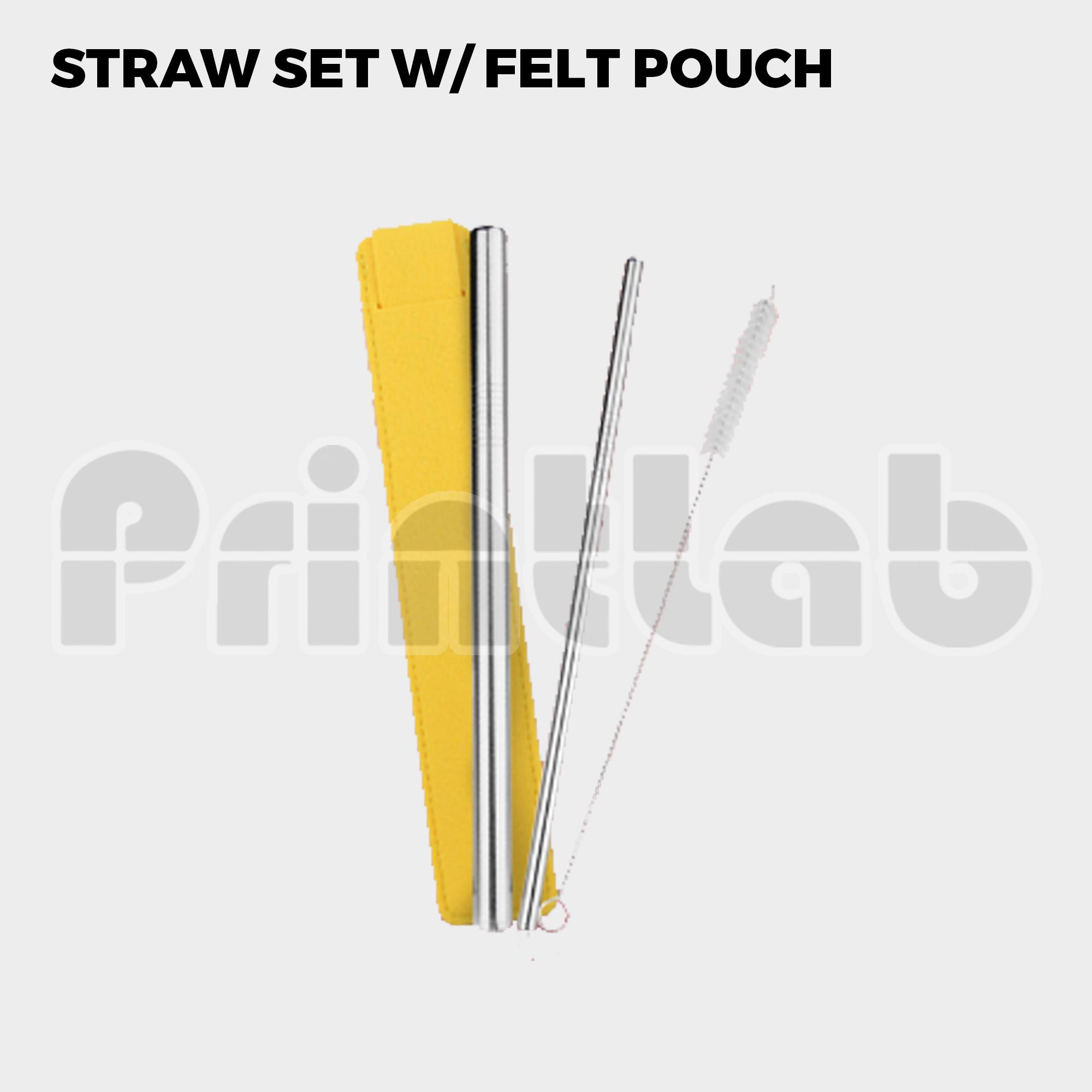 Straw Set w/ Felt Pouch