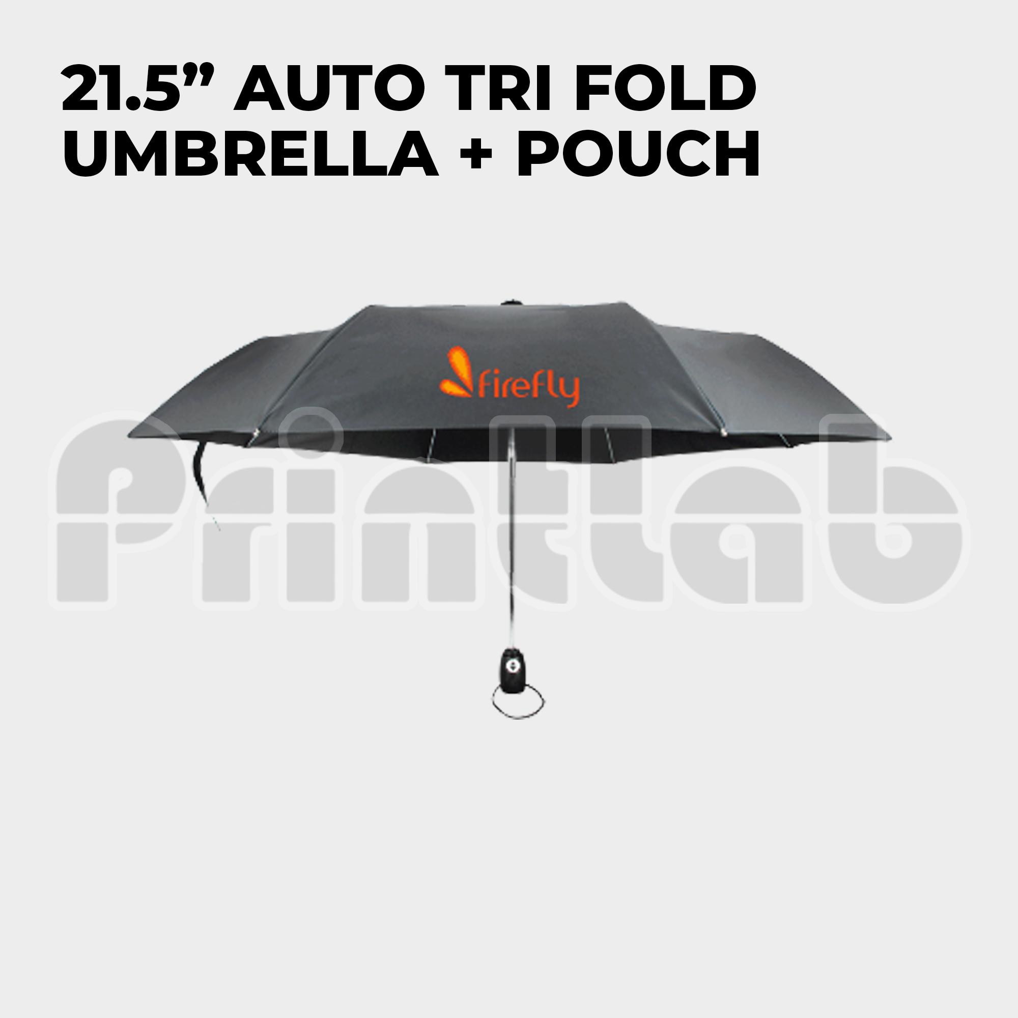 """21.5"""" Auto Tri Fold Umbrella w/ Pouch"""