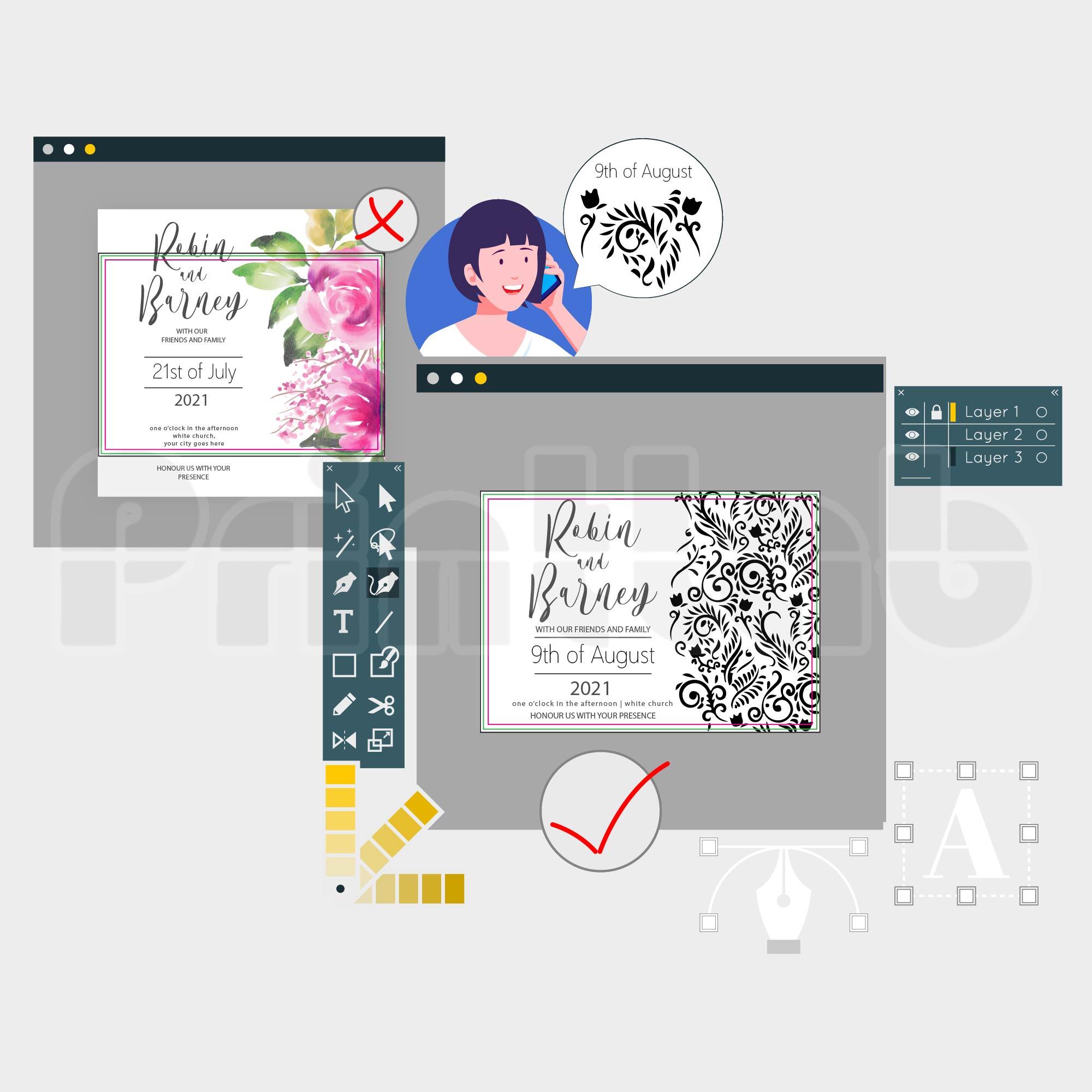 Readjust Text & Image & Artwork Size (Full Design)